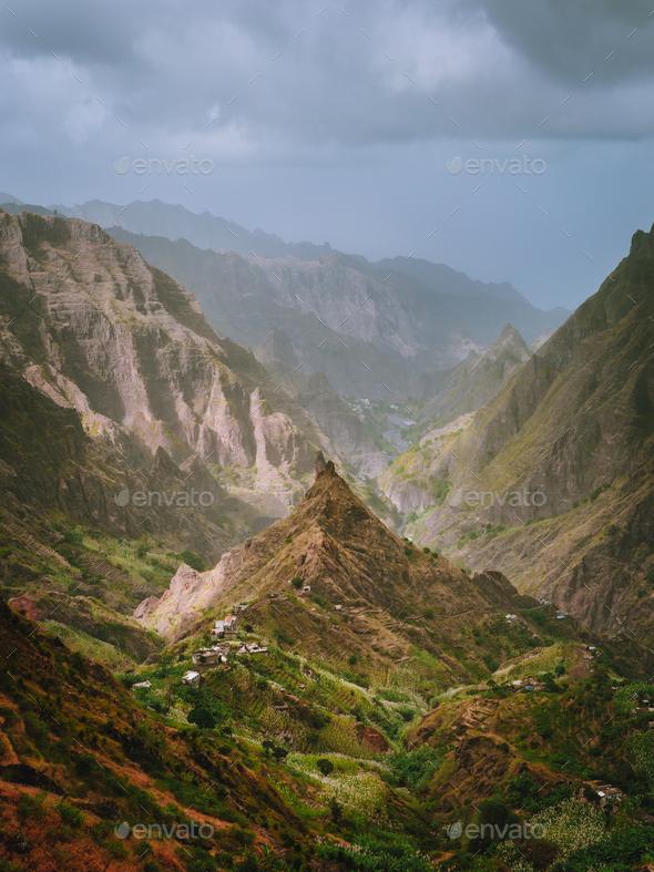 Santo Antao, Cape Verde. Xoxo in the Ribeira da Torre valley. Impressive landscape scenery. Vertical - Stock Photo - Images
