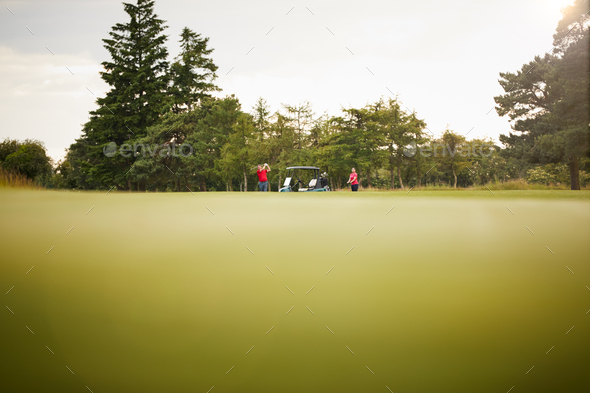 Low Angle Shot Of Couple With Buggy Playing Round Of Golf - Stock Photo - Images
