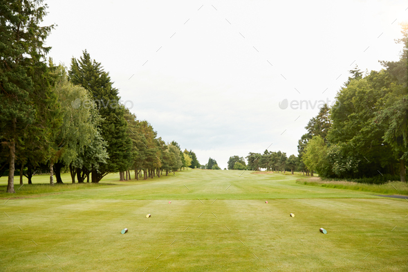 View Along Empty Fairway On Golf Course From Tee - Stock Photo - Images