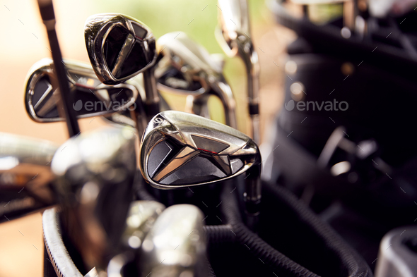 Close Up Of Clubs In Bag On Golf Buggy - Stock Photo - Images
