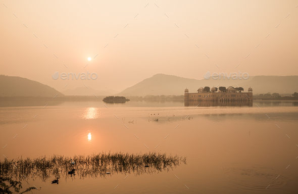 Jal Mahal (meaning Water Palace) is a palace in the middle of the Man Sagar Lake - Stock Photo - Images