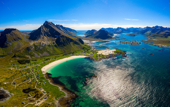 Beach Lofoten archipelago islands beach - Stock Photo - Images