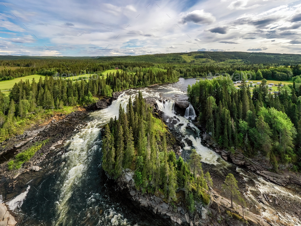 Ristafallet waterfall  in Sweden. - Stock Photo - Images