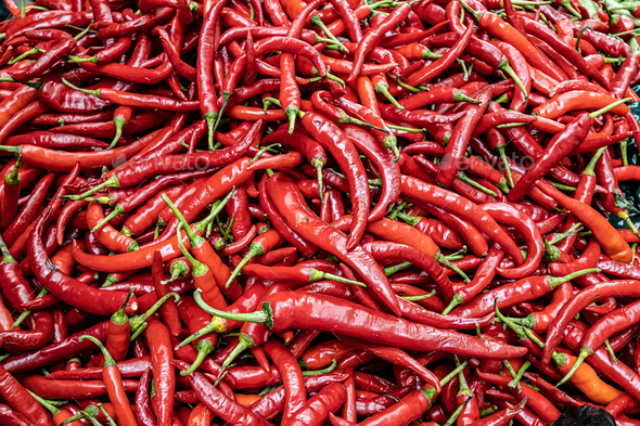 Red Chilli Background. India Ingredient for Sale in Market - Stock Photo - Images