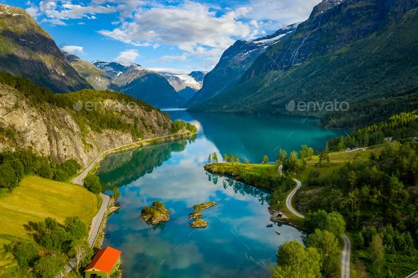 lovatnet lake Beautiful Nature Norway. - Stock Photo - Images