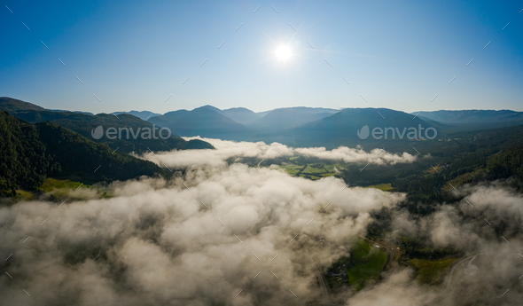 Aerial Beautiful Nature Norway over the clouds. - Stock Photo - Images
