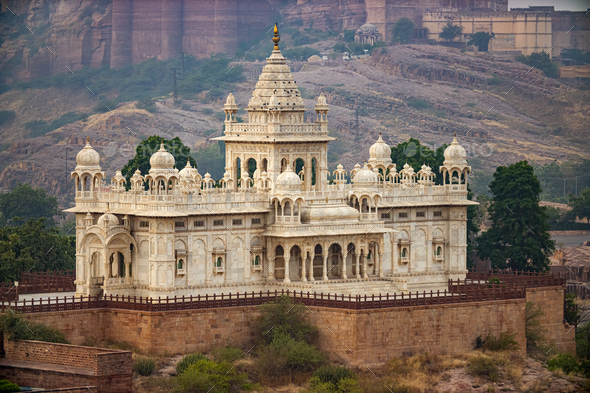 Jaswant Thada is a cenotaph located in Jodhpur, in the Indian state of Rajasthan. - Stock Photo - Images