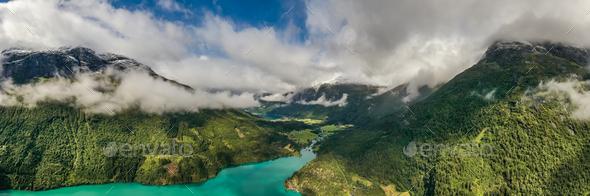 Panorama lovatnet lake Beautiful Nature Norway. - Stock Photo - Images
