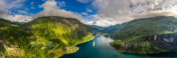 Geiranger fjord, Beautiful Nature Norway. - Stock Photo - Images
