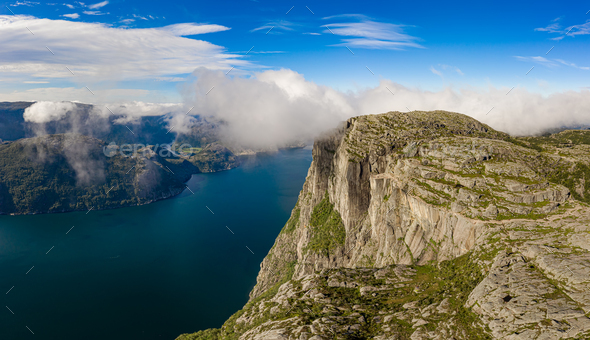 Pulpit Rock Preikestolen Beautiful Nature Norway - Stock Photo - Images