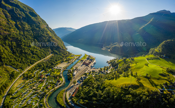 Aurlandsfjord Town Of Flam at dawn. - Stock Photo - Images