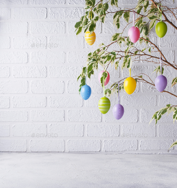 Traditional Easter tree with eggs - Stock Photo - Images