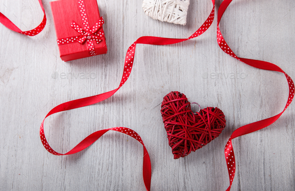 Gifts and heart for Valentine's Day. - Stock Photo - Images