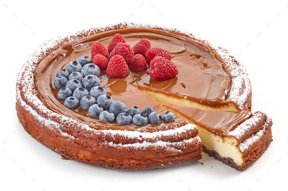freshly baked caramel cheesecake - Stock Photo - Images