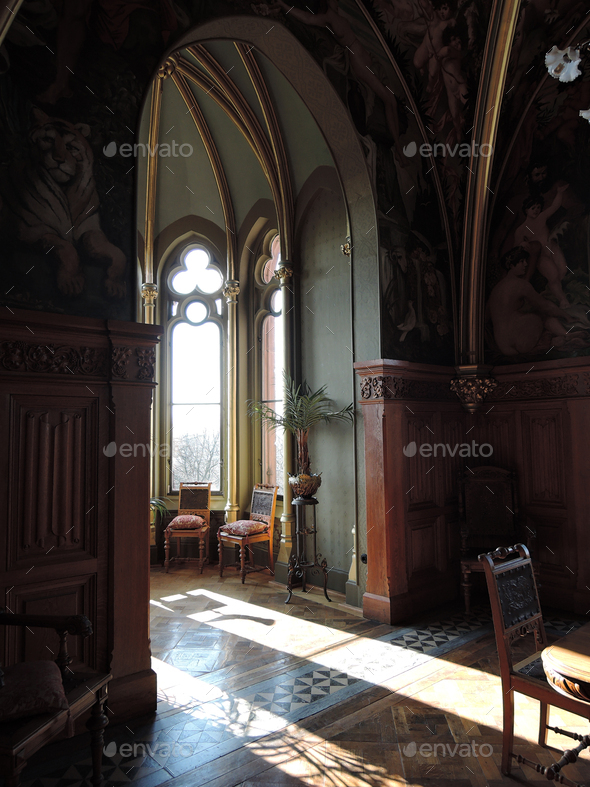 Interior view of the Drachenburg Castle in Cologne, Germany - Stock Photo - Images