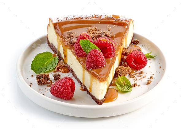 piece of caramel cheesecake - Stock Photo - Images