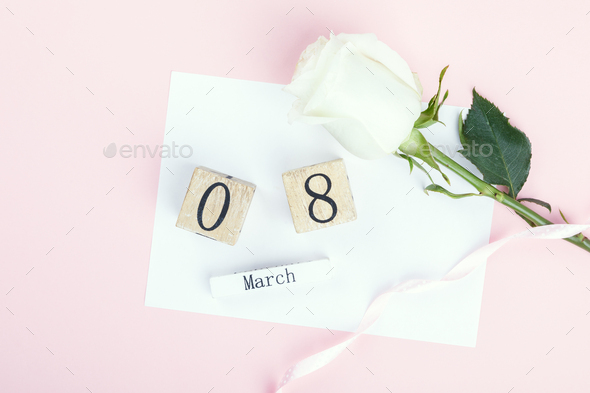Wooden block calendar International of March 8 - Stock Photo - Images