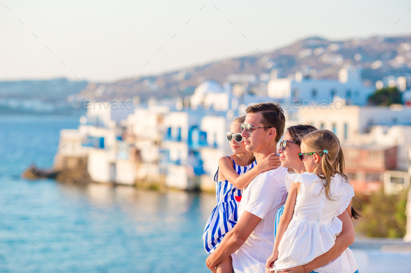 Family with two kids on vacation in Europe - Stock Photo - Images