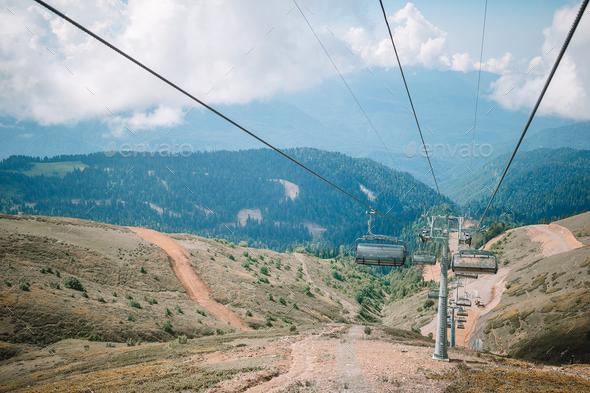 Ropeway on top Roza Peak. Sochi, Krasnodar Krai, Russia - Stock Photo - Images