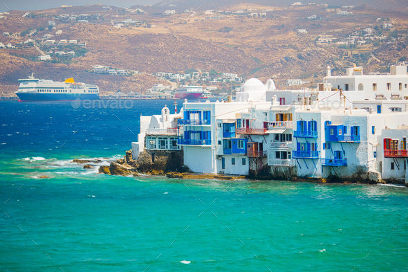 Amazing view of Little Venice the most popular attraction in Mykonos Island Greece - Stock Photo - Images