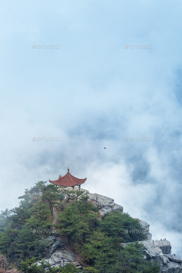 lushan mountain landscape of watching clouds pavilion - Stock Photo - Images