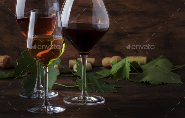 Wine set. Red, white and rose wine - Stock Photo - Images