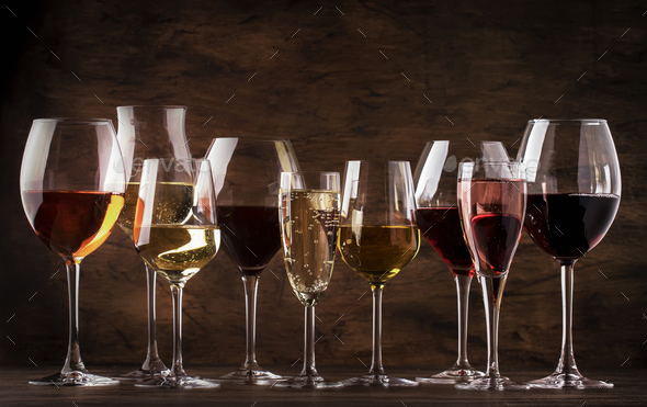 Red, white wine, rose and champagne - Stock Photo - Images