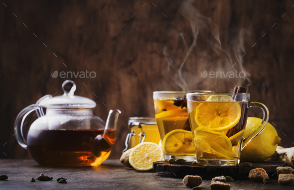 Winter or autumn hot healing tea with ginger - Stock Photo - Images