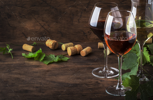 Red, white and rose wine - Stock Photo - Images