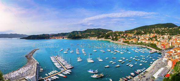 Lerici, harbor and village. Cinque terre, Ligury Italy - Stock Photo - Images