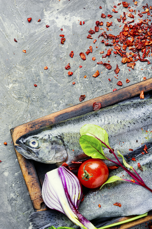 Raw salmon and ingredients - Stock Photo - Images