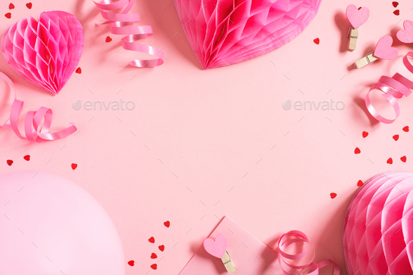 Pink Valentines Day Background with Hearts - Stock Photo - Images