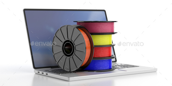 3D printing software. ABS filaments on a laptop, white background. 3d illustration - Stock Photo - Images