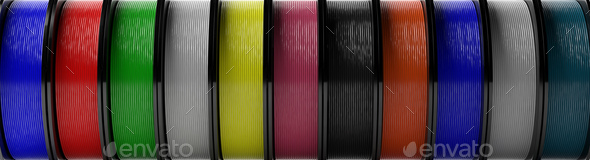 Filaments for 3D printing.  ABS wire plastic for 3d printer, variety of colors. 3d illustration - Stock Photo - Images