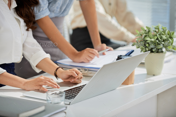 Checking data on laptop - Stock Photo - Images