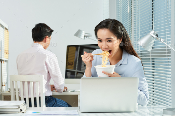 Hungry office worker - Stock Photo - Images