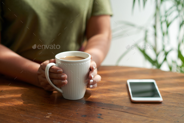 Unrecognizable Woman Enjoying Cappuccino - Stock Photo - Images