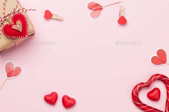 Valentines day card with sweets and gift box - Stock Photo - Images