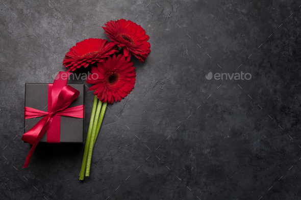 Valentines day gift box and gerbera bouquet - Stock Photo - Images