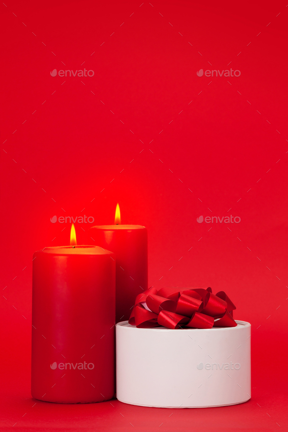 Valentines day gift box and candles - Stock Photo - Images