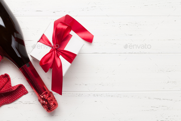 Valentines day gift box and champagne - Stock Photo - Images