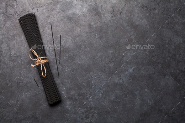 Black spaghetti pasta - Stock Photo - Images
