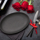 Valentines day with empty plate, gift, wine and roses - PhotoDune Item for Sale