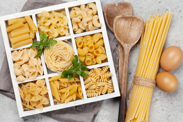 Various pasta in wooden box - Stock Photo - Images