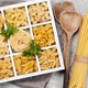 Various pasta in wooden box - PhotoDune Item for Sale