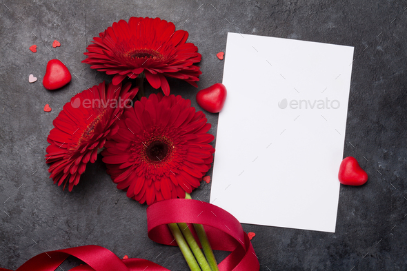 Valentines day card with gerbera flowers - Stock Photo - Images