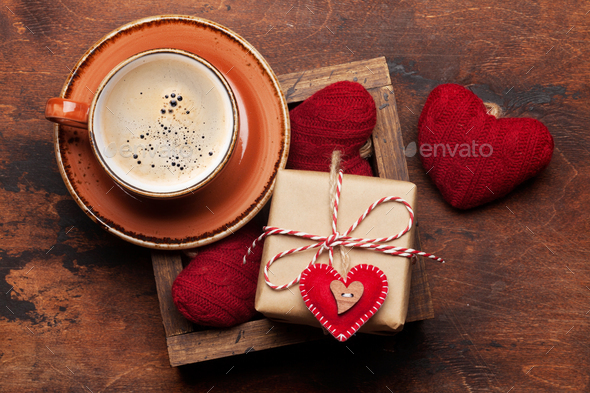 Valentines day card with coffee and gifts - Stock Photo - Images