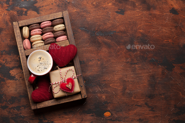 Valentines day card with gift box, cookies and coffee cup - Stock Photo - Images