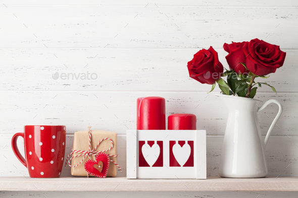 Valentines day card with rose flower bouquet - Stock Photo - Images