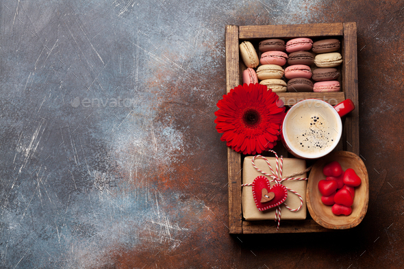 Valentines day card with coffee and cookies - Stock Photo - Images